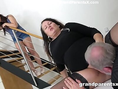Grandpa fucks his fat tie the knot and stepdaughter